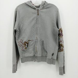 Prana Distressed Gray Floral Embroidered Hoodie